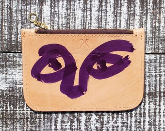 Painted leather zippered wallet