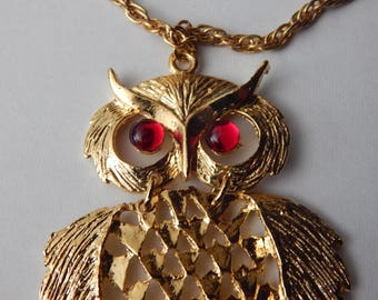 Vintage Red Eye Owl Necklace Gold Tone Red Eyes Large Detailed Owl Statement Necklace