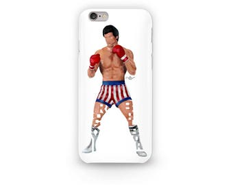 """Rocky Balboa Phone Case Typography Design from the movie Rocky with his name, """"Rocky Balboa"""" in his Boxing uniform  i-Phone Case"""