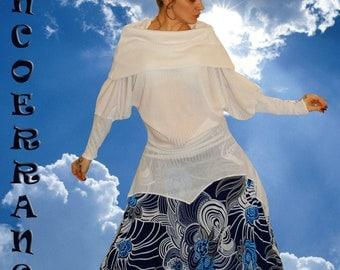 Pull Tunique  en maille   stretch , pull tunique ethnique , pull tunique bohème , boho    ' White ...'