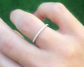 SALE - Thin diamond band - CZ eternity band - Thin eternity band - CZ engagement ring - Half round diamond ring