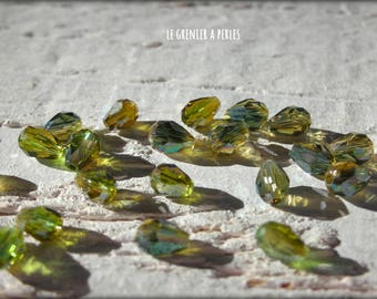 Drops 5 x 2 mm Olivine AB X 25 Crystal from China