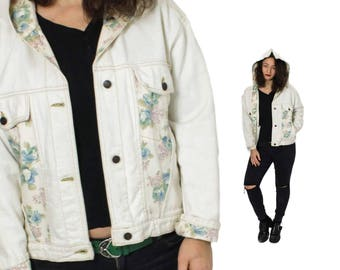 Hooded Denim jacket, Jean jacket , Bohemian jacket, Light Denim jacket, Floral 70s jacket, beige jeans jacket, Boho jeans jacket / Medium