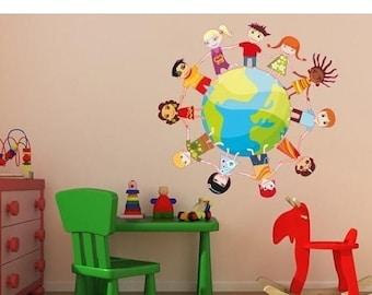 20% OFF Summer Sale Kids Globe childred wall decal sticker, deco, mural, vinyl wall art