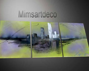 Modern abstract painting green and purple travel