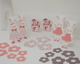 "21 ""Charming bunnies"" themed paper cutouts"
