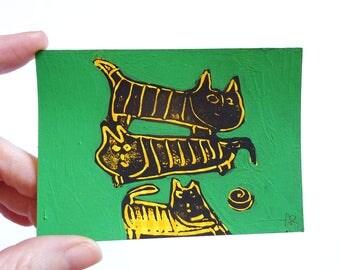 "cats playing, original miniTrash drawing ( 4.13""x2.9"")"