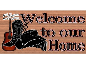 Country Wood Signs  - Welcome Western Sign - GS 2913 -Cowboy Sign
