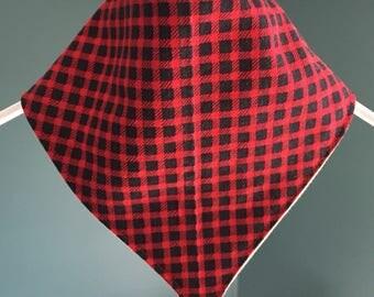 Checkered Christmas bandana style bib