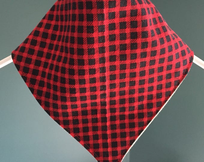 Featured listing image: Checkered Christmas bandana style bib