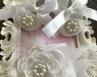 White lace baby shoes and headband set-- newborn white christening, baptism shoes-- lace crib shoes--princess shoes