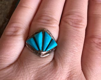 Vintage Sleeping Beauty Turquoise Sterling Silver Ring