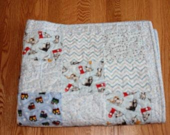 DISCOUNTED - Baby Boy Quilt, Flannel Quilt, Flannel Boy Quilt (Price Reduced)