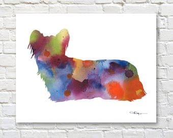 Skye Terrier Art Print - Abstract Watercolor Painting - Wall Decor