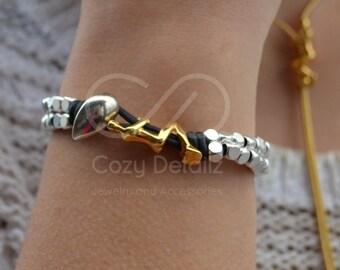 boho bracelet, women bracelet, boho jewelry, women gifts, uno de 50 style bracelet, women jewelry, gold woman figure bracelet
