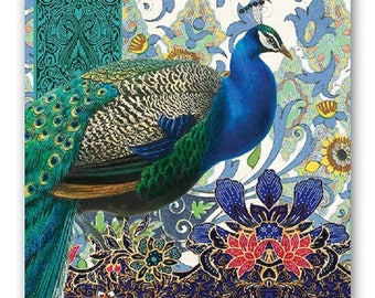 TWO (2) Luncheon Napkins for Decoupage and Paper Crafts, Peacocks