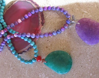 Magnetite beaded necklace with amethyst or green chrysoprase pendant