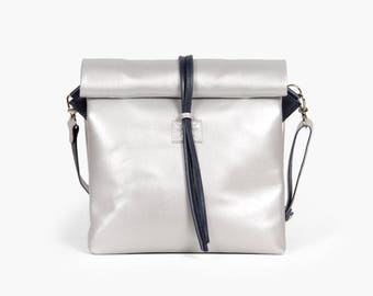 Chandler Space - Handmade Leather Bag  / Silver Handbag / Silver Lunch Bag / Silver Clutch / Silver Crossbody Bag