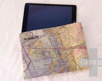 iPad Case / Sleeve - Aviation Map Fabric with Monogramming for Pilots or Enthusiasts