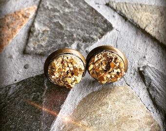 Antique Bronze Gold Glitter Sparkly Faux Druzy Stud Earring Set