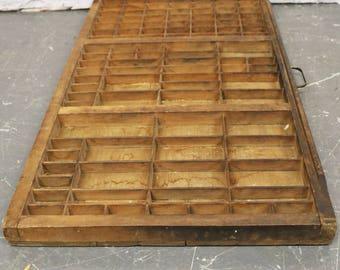 Vtg Hamilton Printers Type Cabinet Drawer Shadow Box Tray Wood 32 x16.5  x 1.5