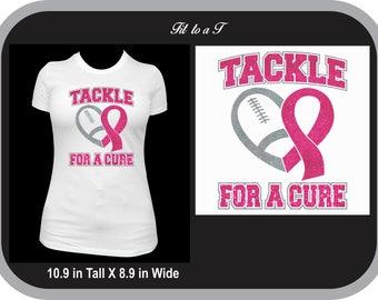 Breast Cancer Awareness Football Glitter T-Shirt, Tackle Cancer, Tackle Breast Cancer