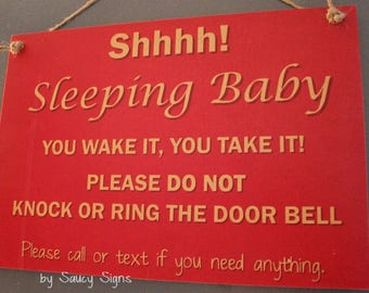 No Soliciting Baby Sleeping Wake It Take It Do Not Knock Warning Welcome Door Sign 1 Signs