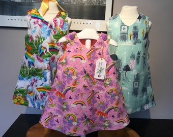 Girls pinafore/dress, bright unicorns, pink fairies and rainbows, perer pan, Easter outfit, summer dress,