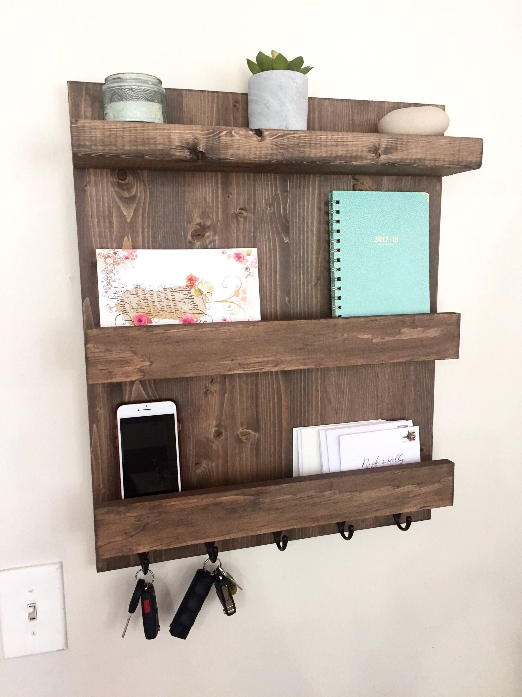 mail shelf mail organizer wood floating shelf key hook. Black Bedroom Furniture Sets. Home Design Ideas