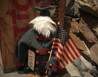 Primitive Uncle Sam Fourth of July Americana Doll