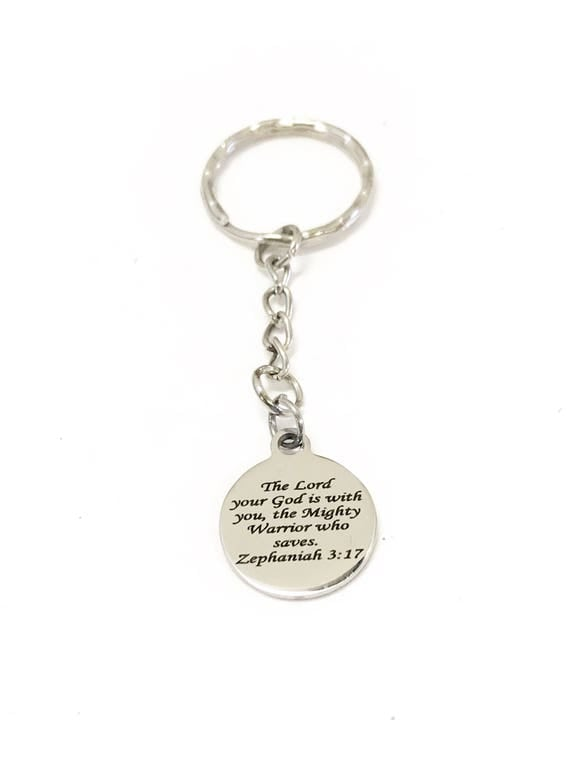Scripture Keychain, Scripture Gifts, Bible Verse Keychain, Christian Keychain, Scripture Verse Gifts, The Lord Is With You, Christian Gifts