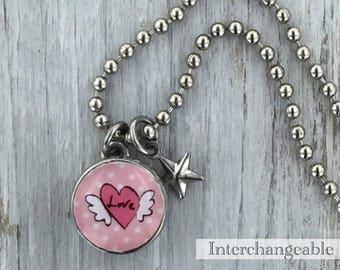 Kids necklace, Kids bracelet, Kids jewelry, heart charm, winged-heart charm, Kids accessories, Kids pendant, Interchangeable, photo jewelry