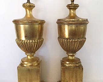 Pair of 22K Gold Gilded Table Lamps/Vintage
