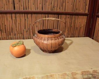 Vintage Chineser Japanese Basket Ikebana Flower Arrangement Vessel