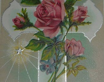 ON SALE till 7/28 Cross With Lovely Pink Roses Antique Easter Postcard
