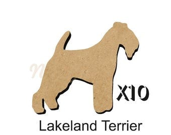 Pack of 10 LAKELAND TERRIER Dog blanks 4 size options 25mm,50mm,75mm,100mm from 3mm MDF DOGW155