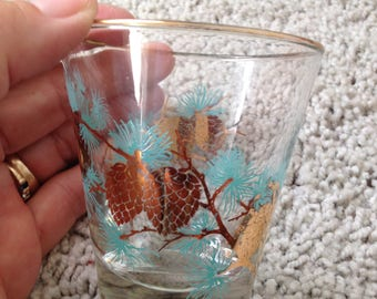 Libbey Glass Turquoise & Gold Pinecone Barware Tumbler  Replacement