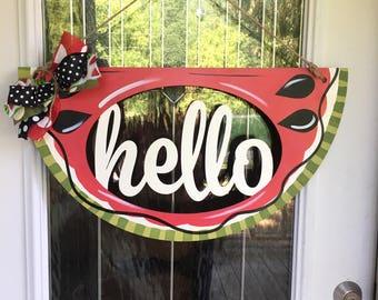 Hello door hanger, watermelon door hanger, watermelon hello door hanger, summertime. Door hanger, door decoe