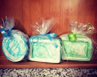Hand made soap bars with swirls and stone inside! Multiple  shapes  and scents available!