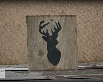 Deer Sign / Black Sign / Deer Silhouette Sign / Farmhouse Sign / Nursery Sign / Baby Sign / Rustic Wood Sign / Pallet Sign / Black Deer Sign
