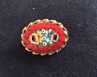 Vintage Oval Micro-Mosaic Brooch