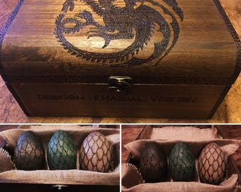 Game of Thrones inspired chest complete with dragon eggs, drogon, rhaegal, viserion, house targaryen, mother of dragons