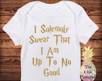 I Solemnly Swear That I Am Up To No Good - Funny Baby Onesie/ Unisex Gift/ Baby Shower/ Newborn Photos/ Harry Potter Onesie/ Glitter