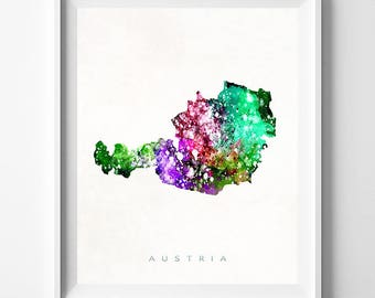 Austria Map Print, Vienna Print, Austria Poster, Vienna Map, Watercolor Painting, Map Art, Travel Poster, Home Decor, Valentines Day Gift