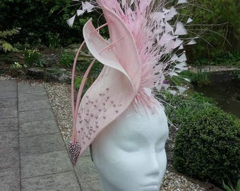 Hatinator, in pink sinamay.  Wedding, hat, for Mother of the Bride, Fascinator, for Race Meetings, Royal Ascot