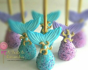 12 Mermaid Inspired Cake Pops - under the sea, glam, mermaid party, princess party - any color
