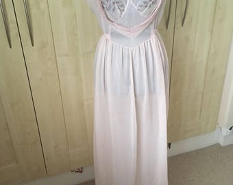 Kayser Baby Pink Nylon Jersey Full Length Nightdress with Rosebud Detail