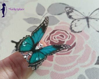 Teal and Black 3D Butterfly Ring