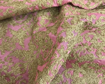 SALE 20% Pure Chanderi Silk Jute Lace Embroidered Fabric, Dress Fabric, Gown Costume, Drapery Fabric, Luxury Bridal Wedding Fabric SEAF03