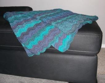 Crochet Ripple Blanket - Green, Blue, Purple